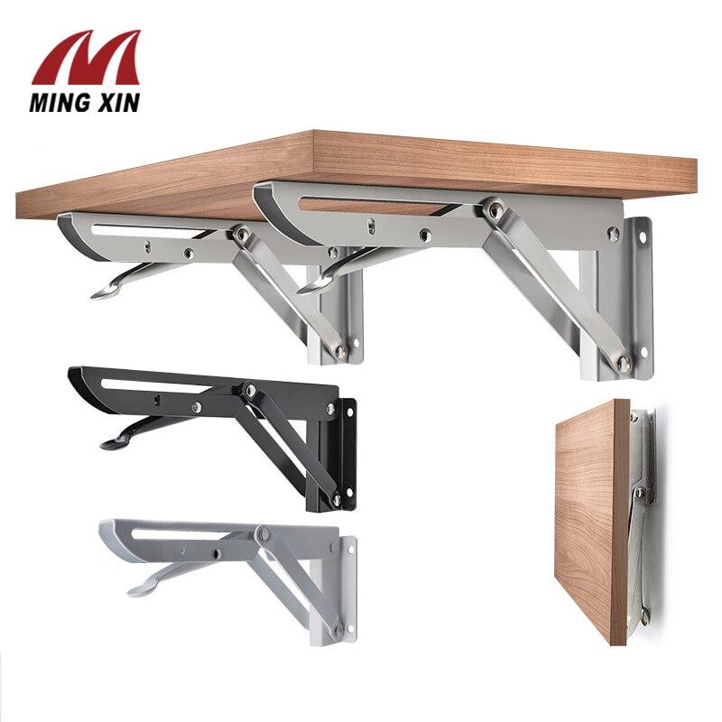 2 pces 8-20 polegada de aço inoxidável suporte, branco e preto ferro dobrável suporte, mesa de suporte de parede ajustável, diy mobiliário ferragem