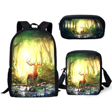 HaoYun Children 3PCs Set Backpack Fantasy Deer Pattern School Bags Cartoon Animal Painting Students Backpack/Flaps Bags/Pen