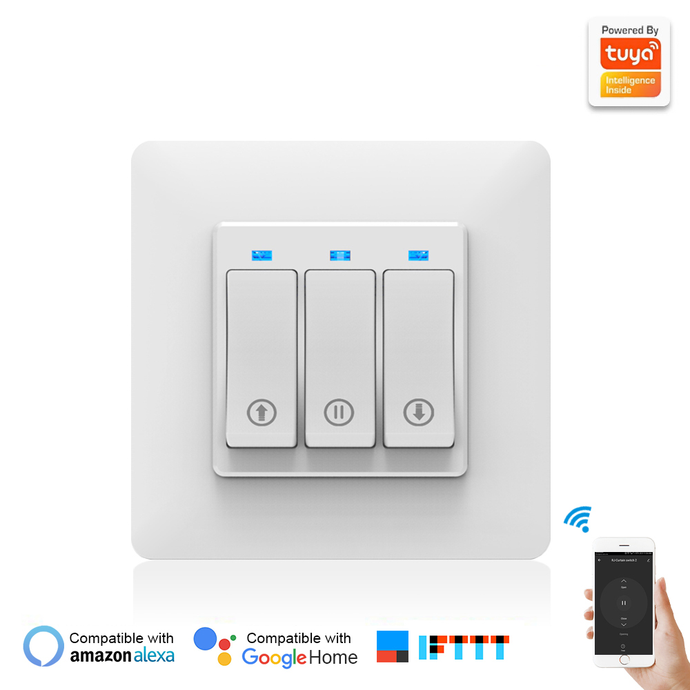 Curtain Smart Switch Phone APP Remote Controlling Mechanical Button Smart Curtain Controller With Indicator Light EU PLUG