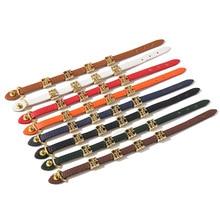 Глянцевый кожаный браслет для женщин из титановой стали с золотыми буквами и двойной петлей