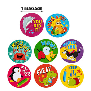 Image 3 - 500 szt. Naklejki dla dzieci rolka naklejek dla dzieci motywacyjne okrągłe naklejki z słodkie zwierzaki na powrót do szkoły