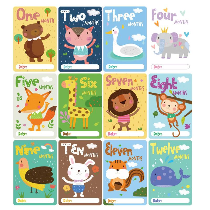 12 Sheet Cute Cartoon Animal Stickers Milestone Photo Sharing Cards Gift Set Baby Age Cards Newborn Photography Props
