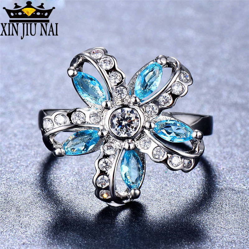 Luxury Ball Party 925 Silver Big Bow Knot RING Blue CZ Zircon Crystal Finger Ring For Women Wedding Fine Personalized Jewelry