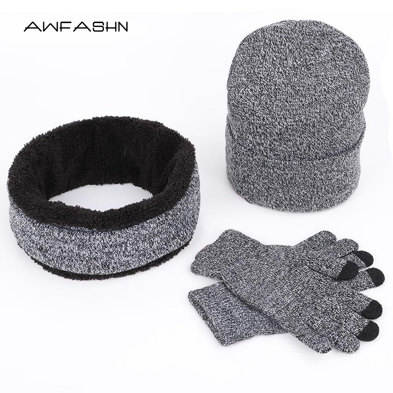 Hats Scarves Gloves Three-Piece Set Men Women Winter Warm Ring Scarf Touch Screen Gloves Beanies Cotton Outdoor Soft Cap Bonnet