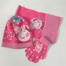 Pink pig girl knitting autumn and winter three-piece action characters cartoon plus velvet fashion wild children 3-10 years old