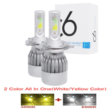 2pcs LED Car Lights H8 H9 H11 H7 HB3 HB4 9005 9006 H27 880 881 H3 H1 LED Headlight Bulb Dual Color car Fog Lamp White Yellow image