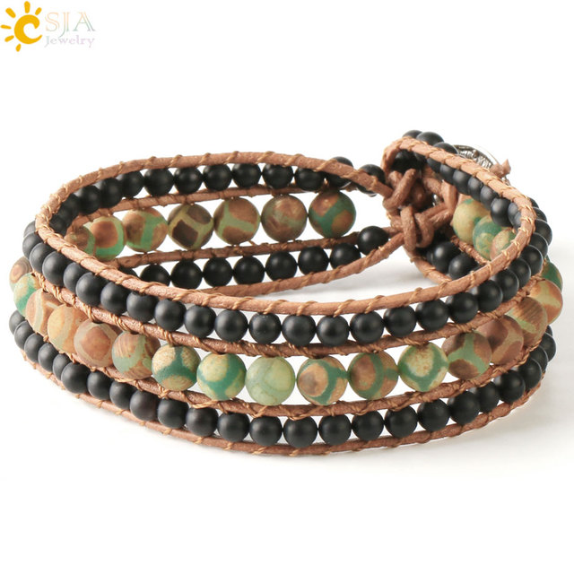 Schwarz GJ Bohemian Vintage-Stil Feder Perlen Lederarmband einstellbar Armband