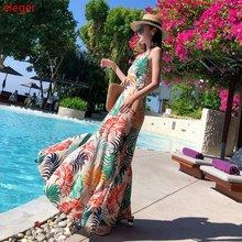 Женское Пляжное Платье макси с тропическим принтом летние вечерние