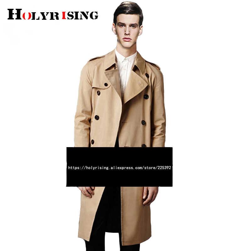 Holyester Männer graben mantel Business Männer der windjacken Einfarbig Lange Männer Mode Herbst Jacken S-5XL 18998