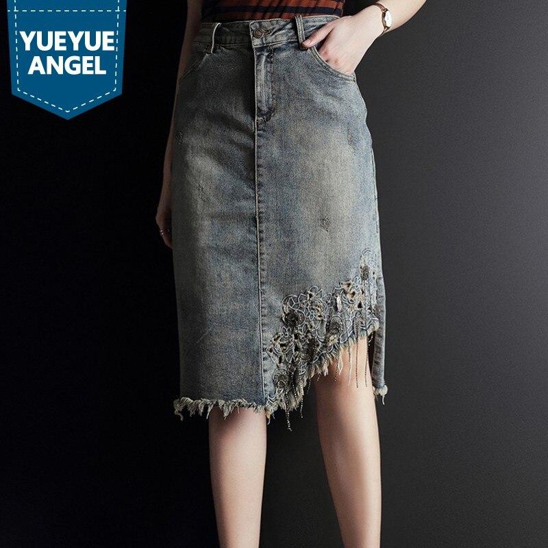 Vintage broderie gland été femmes genou longueur Denim jupes mode grande taille taille haute femme asymétrique Split jupes