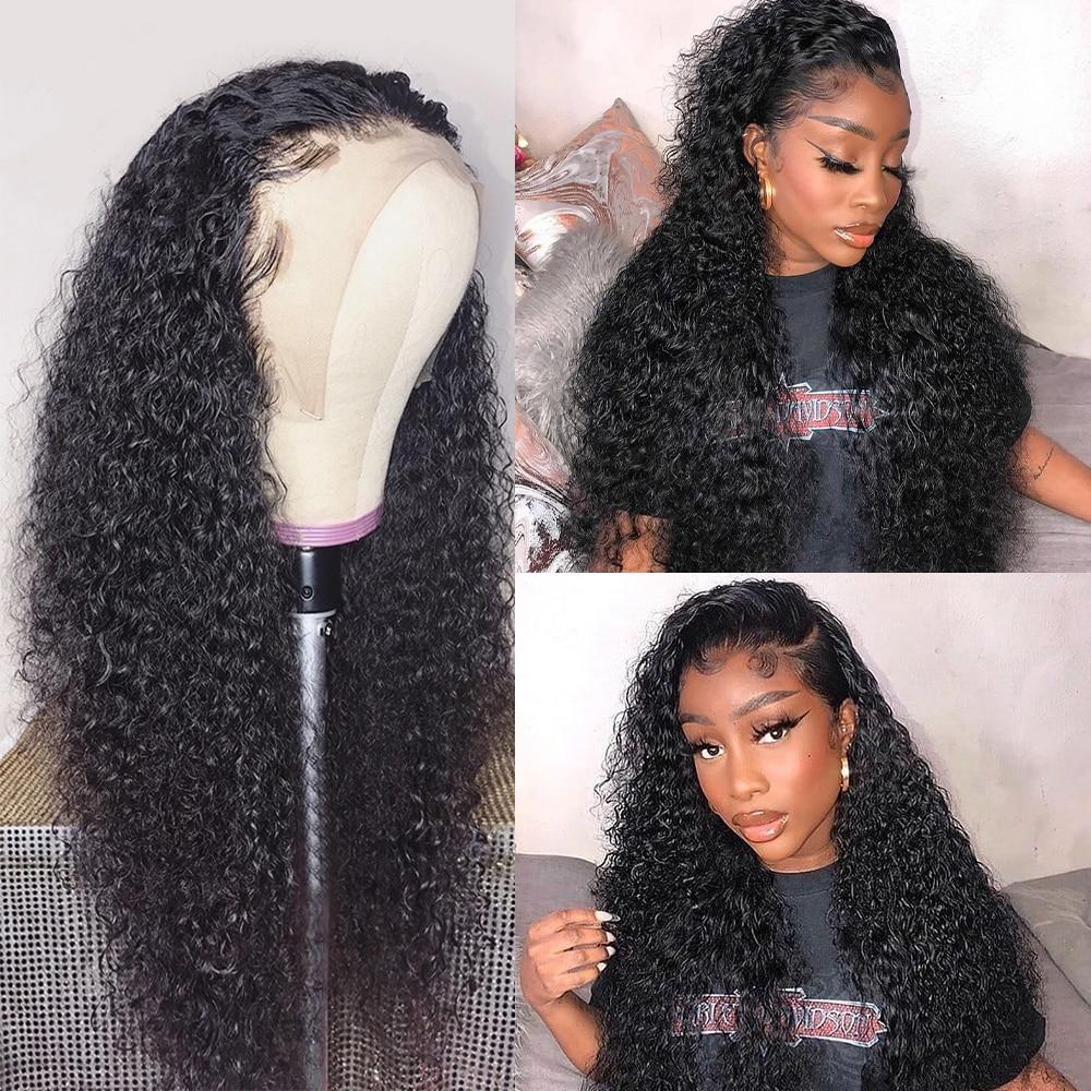 Perucas encaracoladas do cabelo humano da parte dianteira do laço da onda da água das perucas 360/13x 6/13x 4/4x4 para perucas frontais do laço da onda profunda das mulheres