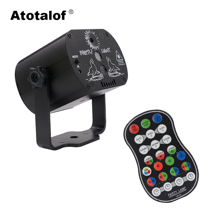 Atotalof Sound Party Lights Mini USB Disco Laser Light DJ Professional LED RGB Stage Lighting Effect For KTV Home Bar Birthday