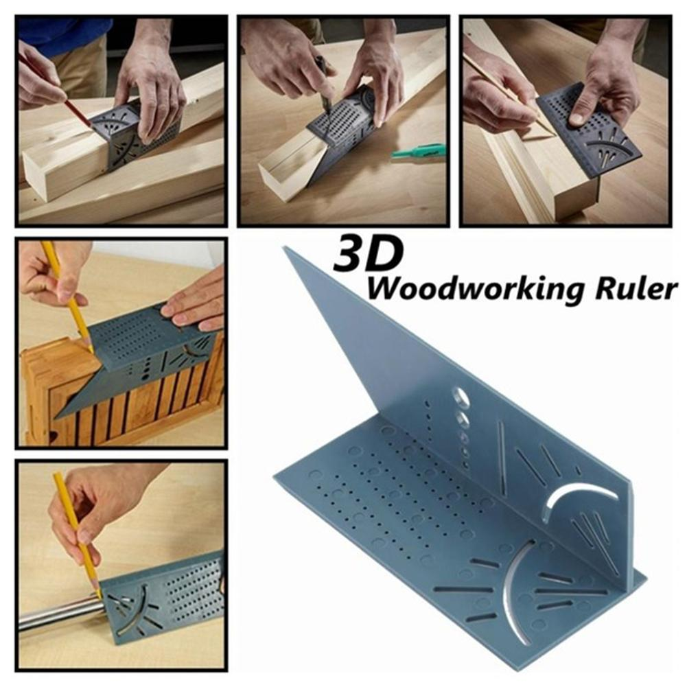 45/90 Degree Angle 3D Woodworking Ruler Angle Measuring Square Size Marking Gauge Measure Tool For Three-dimensional Workpiece
