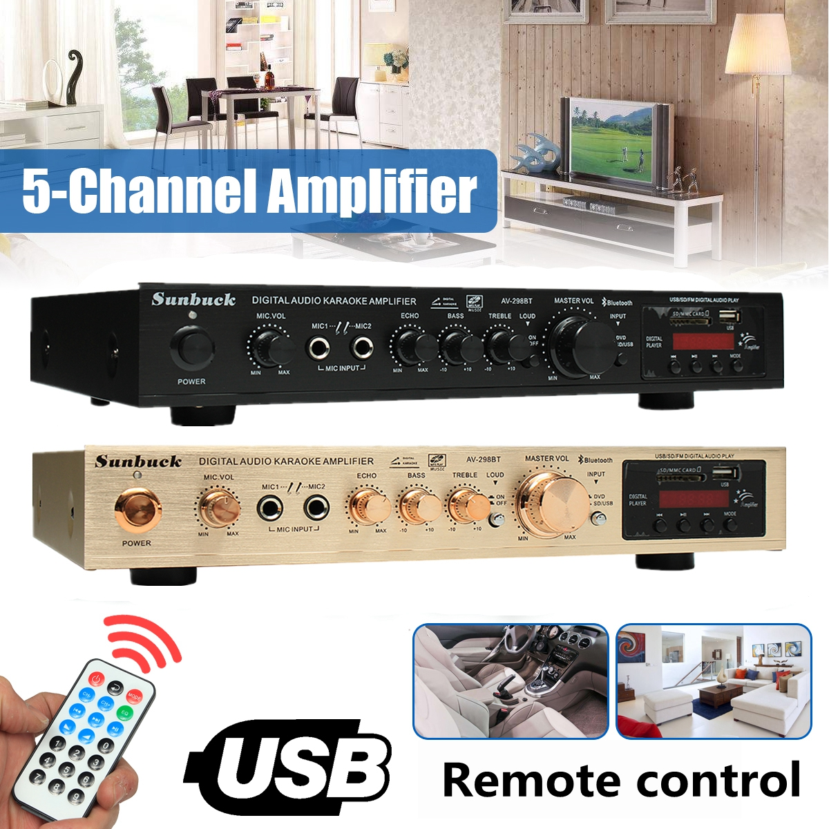 298B bluetooth 2 0 Channel 2000W 5 Channel Audio Power Amplifier 220V AV Amp Speaker with Remote Control Support FM USB SD Cards