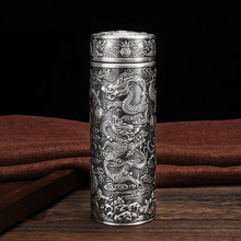 S999 Sterling Silver Vacuum Cup Handmade Chinese Dragon Totem Water Bottle Thermos for Tea