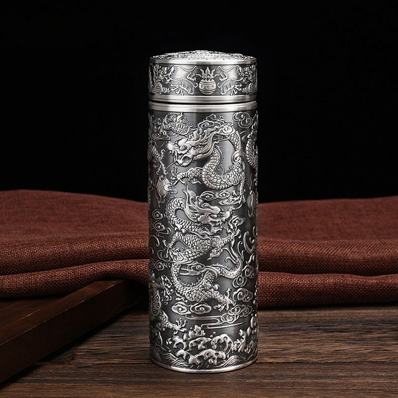 S999 tasse à vide en argent Sterling fait à la main Dragon chinois Totem bouteille deau Thermos pour le thé