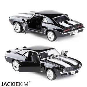 Image 4 - 1/36 масштаб США 1969 Camaro SS винтажная матовая черная литая металлическая модель автомобиля игрушка для коллекции подарок для детей