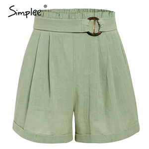 Image 5 - Simplee casual feminino cintura alta shorts sólido verde verão praia estilo férias senhoras shorts bolso anel blet faixa babados shorts