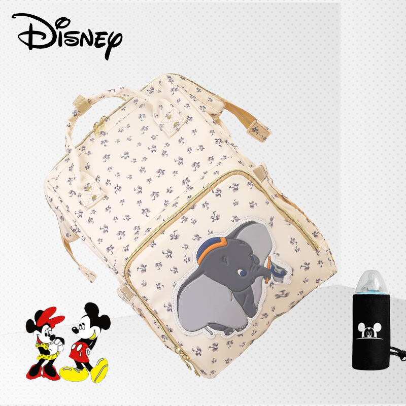 Disney Mummy Beiges Diaper Bags USB Backpacks Multifunction Large Capacity Nappy Baby Care Bag Mickey Minnie Elephant Letter