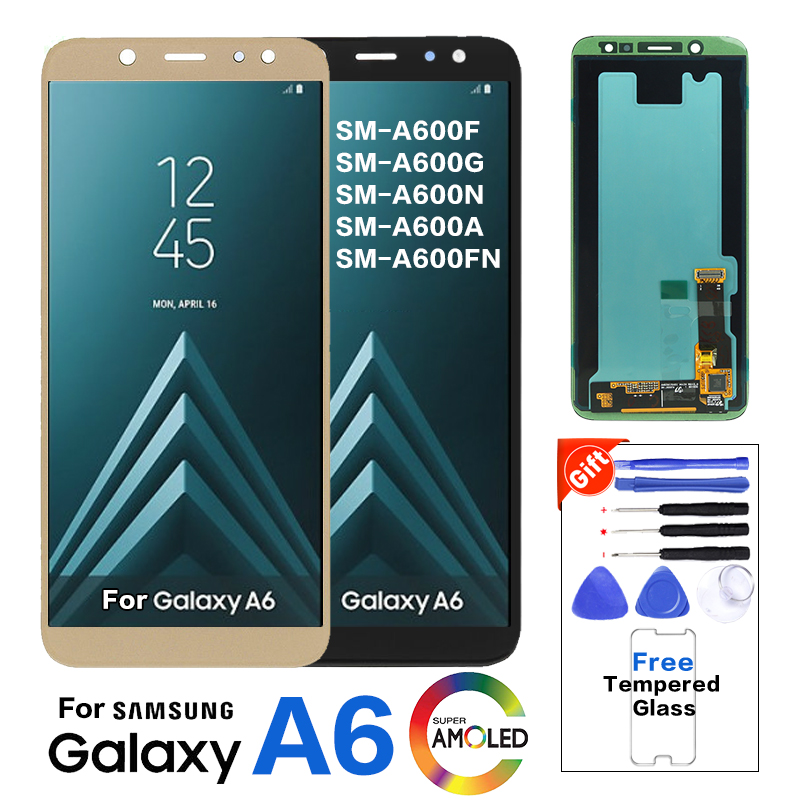 Super AMOLED A600 LCD For Samsung Galaxy A6 2018 A600 A600F SM-A600FN LCD Display Touch Screen Digitizer Assembly Replacement
