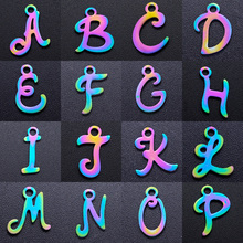5pcs/lot Rainbow A-Z Initial Name DIY Charms Wholesale 100% Stainless Steel Jewelry Making DIY Charm Pendant for Necklace