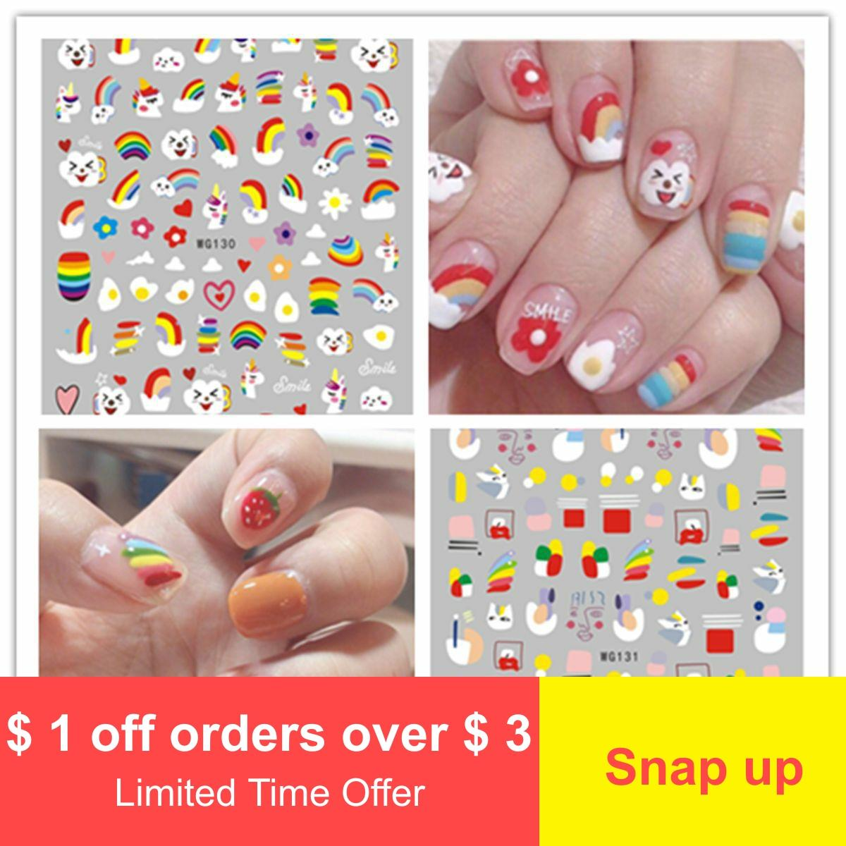 New Hyun-a <font><b>Kim</b></font> wind strap glue nail <font><b>stickers</b></font> paper face line nail <font><b>stickers</b></font> cartoon nail <font><b>stickers</b></font> image