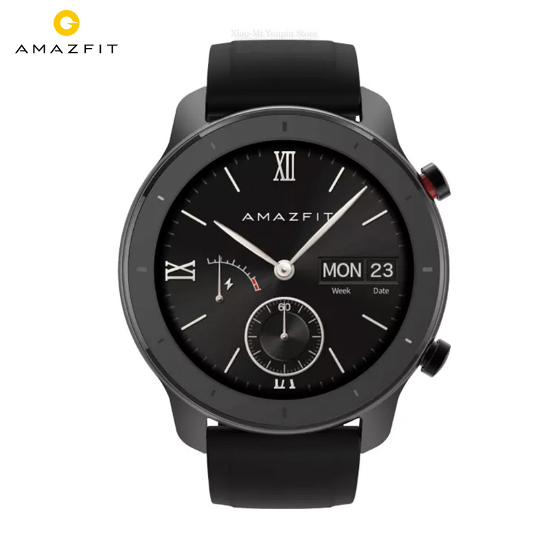 Global Version  Amazfit GTR 47mm Smartwatch 5ATM Waterproof Smartwatch Battery Life 24 Days GPS Music Control With Leather Strap Smart Watches    - AliExpress