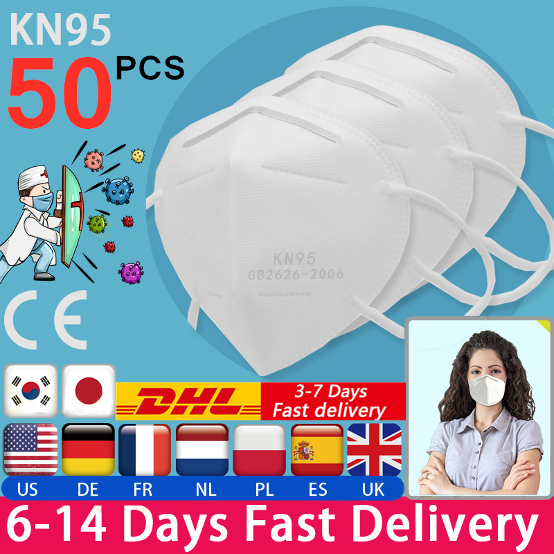 50Pcs KN95 Face Mask Anti Dust Bacterial N95 Mask PM2.5 Dustproof Protective 95% Filtration KN95 Mouth Muffle Cover DHL SHIPPING