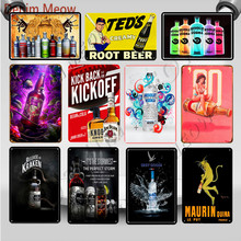 Rum with The Pack Beers Vintage Absolut Vodka Metal Tin Signs Bar Pub Decorative Plates Whisky Dark Temptation Art Poster WY100