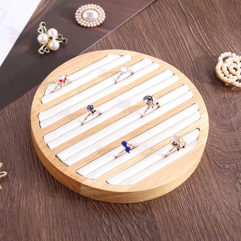 1 Pc Ringe Display Tray Holz Runde Ring Halter Zeigt Platte Schmuck Veranstalter Schaufenster für Shop box