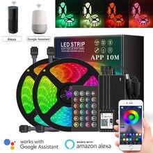 5m 10 15m 20m inteligente wifi app controle remoto rgb luzes led tiras 5050 12v 220v fita de néon compatível alexa google decoração de casa