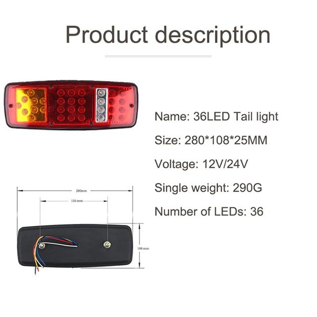 NLpearl 2x trwałe wodoodporne światło tylne LED do przyczepy ciężarówki ATV Caravan tylne światło hamowania Stop światło cofania światła samochodowe montaż
