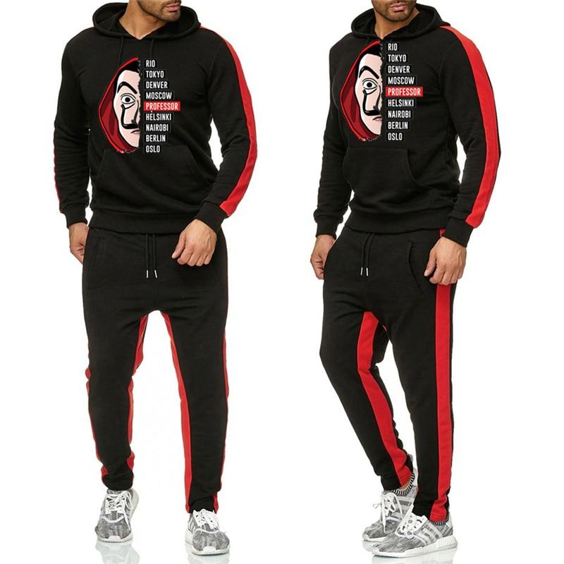 New Fashion Sweatshirt Tracksuit La Casa De Papel Prints Thermal Men Sports Sets Fleece Thick Hoodie+Pants Sporting Jogger Suits