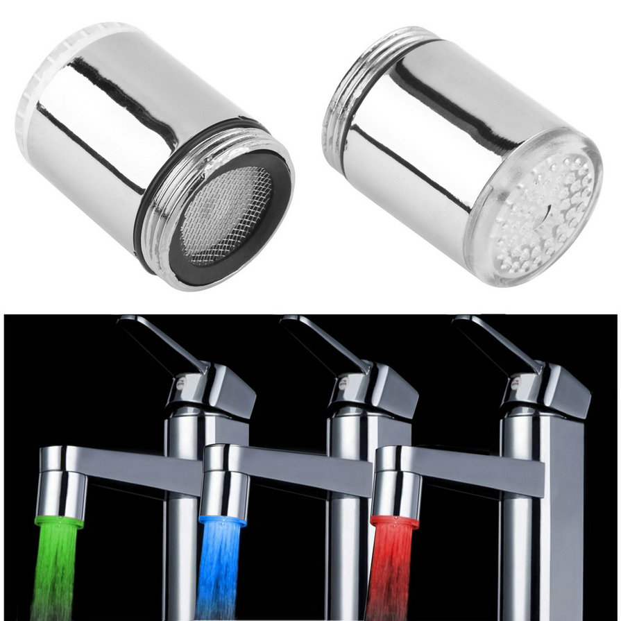 3 Color/Single Color LED Light Change Faucet Shower Water Tap Temperature Sensor No Battery Water Faucet Glow Shower Left Screw
