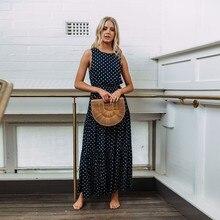2019 Women Casual Sleeveless Maxi Polka Dot Dress Print Long Dresses Loose Vestidos Beach Summer Sexy Button Autumn Hot Sale