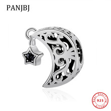 Original 925 Sterling Silver Charm ลูกปัด Openwork Moon และ Star Goodnight Charm Fit Pandora สร้อยข้อมือผู้หญิง DIY (China)