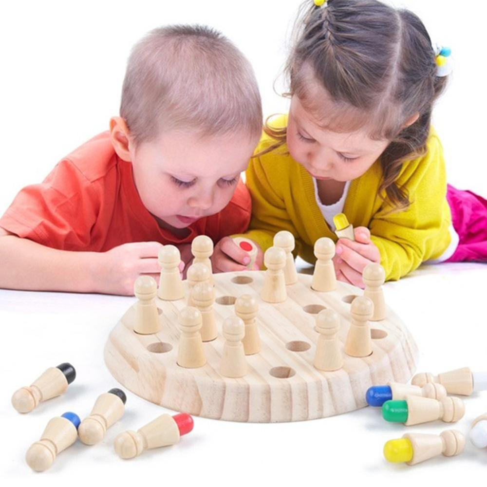 Kids Wooden Memory Match Stick Chess Game Party Fun Block Board Table Games Color Cognitive Ability Education Toys For Children