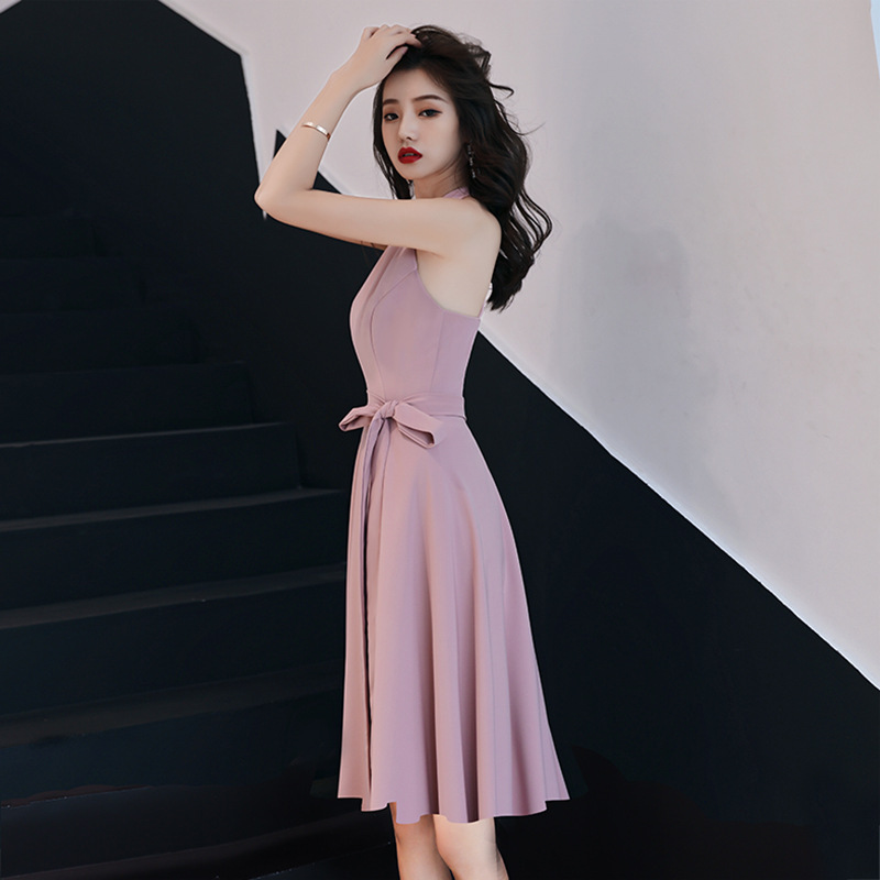 Evening Gown Women's 2019-Style Banquet Halter Short-height Bridesmaid Elegant Aura Queen Simple And Elegant Dress