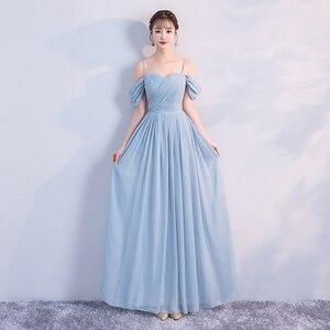 Image 2 - Korean Style Women Summer Party Sexy Wedding Guest Pearl Chiffon Long Blue Pink Bridesmaid Dresses Vestido Madrinha