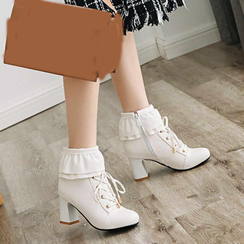 Zarif kadın Lolita yarım çizmeler kış vahşi seksi deri kısa çizme bayan şık yüksek topuk elbise ayakkabı düğün parti Botas