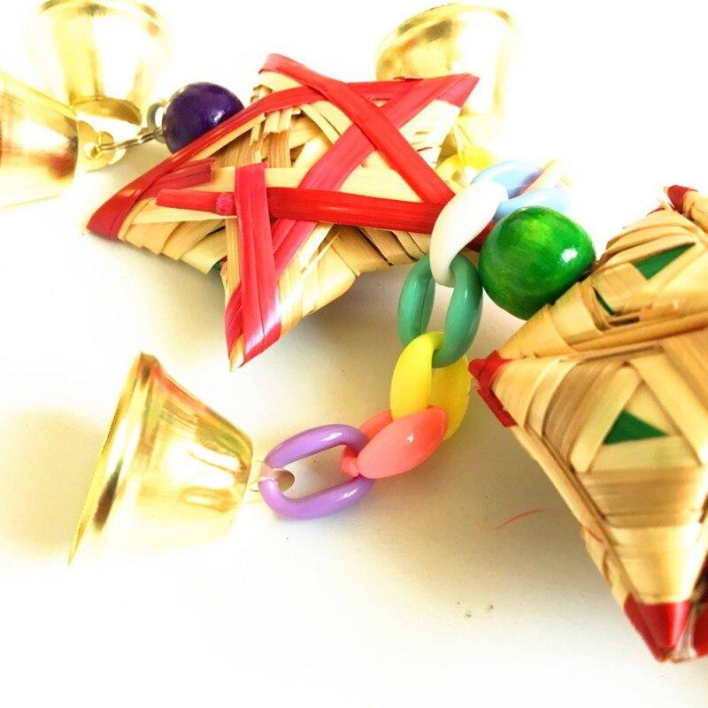Loro juguetes colgantes campana Juguetes Para loros pájaro ardilla cadena divertida columpio juguete para mascotas pájaro suministros hierba Natural juguete tejido - 3
