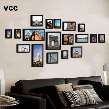 18Pcs/Set Wood Picture Frames For Wall Hanging,City Building Photo Frame Wall Classic Wooden Frame For Photo