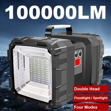 Lampe de poche 60W Rechargeable et étanche, projecteur à Double tête, lampe de travail, projecteur Super lumineux + chargeur