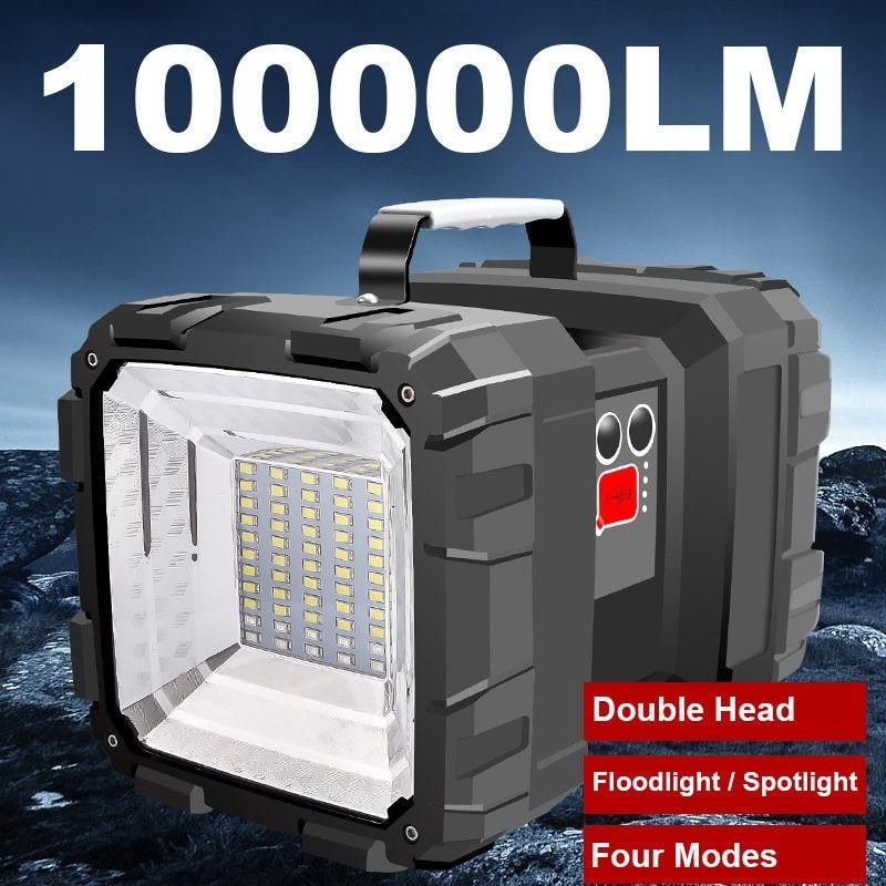Lampe torche Rechargeable à Double tête 60W LED, lampe de travail étanche, lampe de travail Super brillante + flood lig