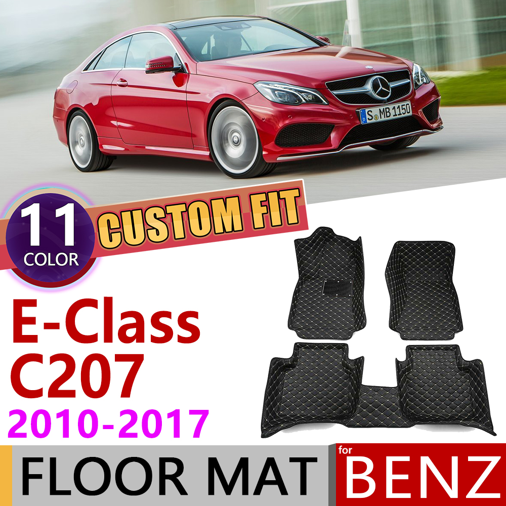 Custom Leather Car Floor Mats For Mercedes Benz E Class Coupe C207 2010~2017 5 Seats Foot Pad Carpet Accessories E200 E250 E300