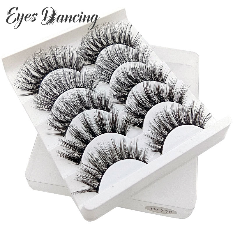 Eyes Dancing 5 Pairs 3D Faux Mink Lashes Natural Long Eye Lash Thick Volume Eyelash Extensions Wispy Makeup Beauty Eyelashes