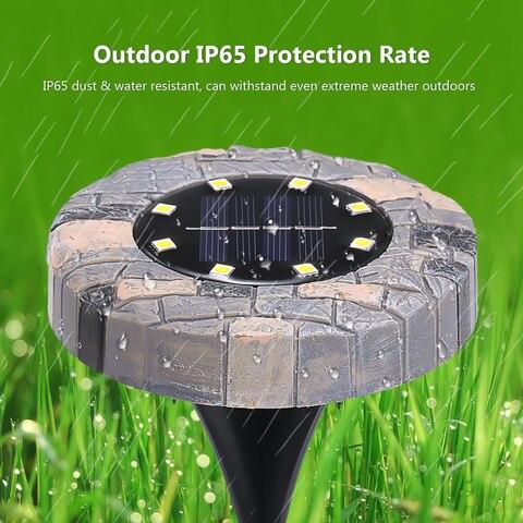 4 pcs movido a energia solar luzes 8 leds jardim deck de disco lampada ao