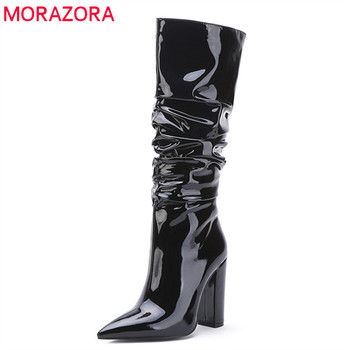 MORAZORA 2020 big size 45 women knee high boots pointed toe high heels dress party wedding shoes woman autumn winter boots