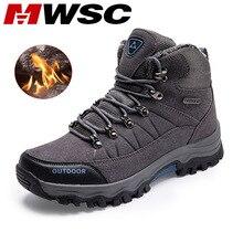 MWSC ฤดูหนาวหิมะรองเท้าสำหรับชายกลางแจ้งรองเท้ากันน้ำผู้ชาย Anti SLIP หิมะรองเท้าข้อเท้าซับในขนสัตว์รองเท้าผู้ชายพลัสขนาด