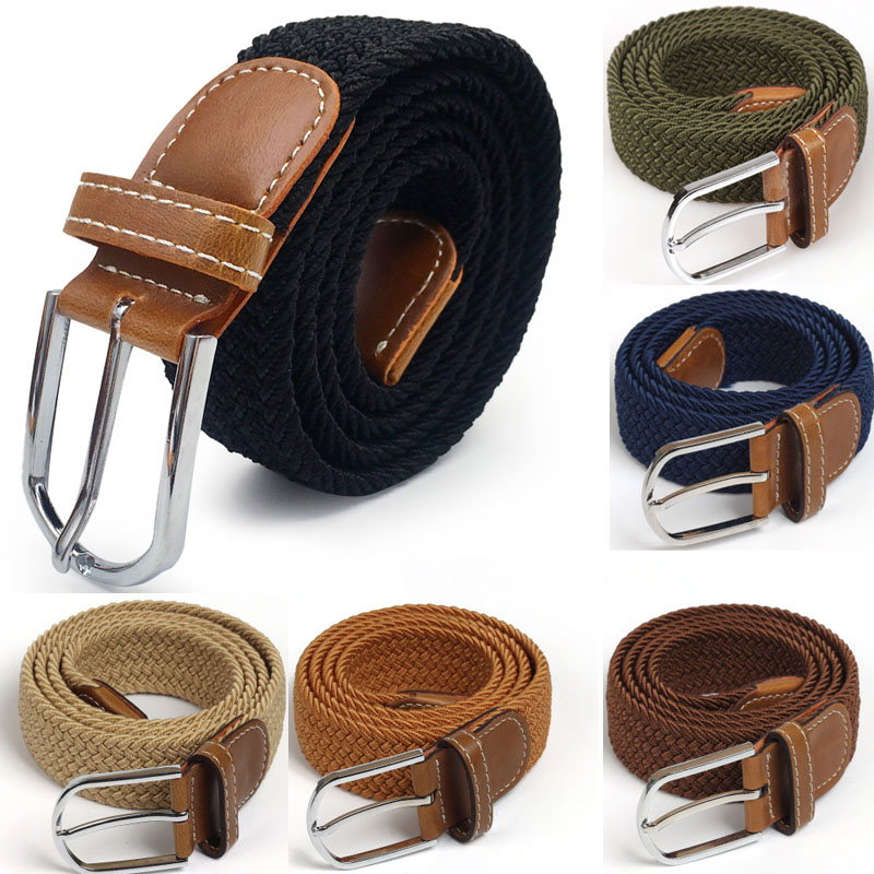 Men Elastic Stretch Waist Belt Black Canvas Stretch Braided Elastic Woven Leather Belt Wide Hot Metal Stretch Belt For Men